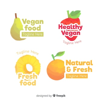 Watercolor healthy food logo set
