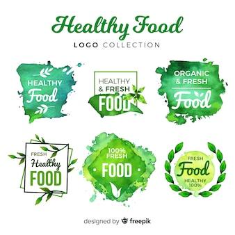 Watercolor healthy food logo set