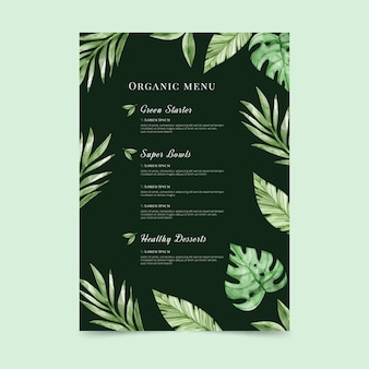 Watercolor healthy food menu template