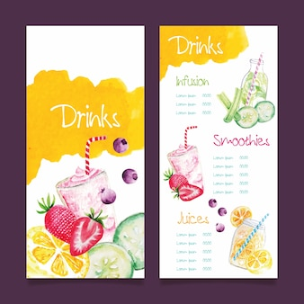 Watercolor healthy food restaurant menu template