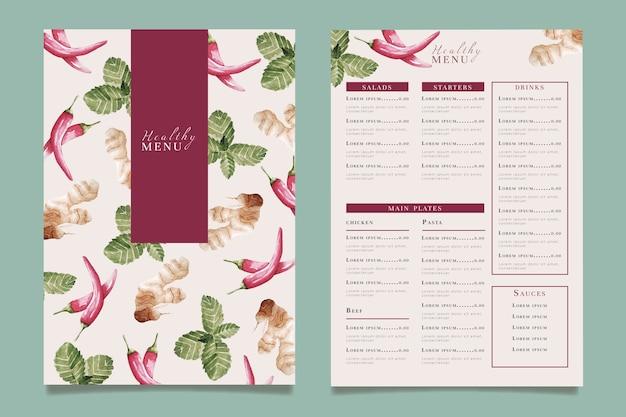 Modello di menu del ristorante di cibo sano dell'acquerello