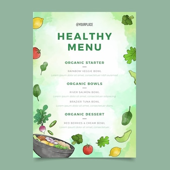 Watercolor healthy food restaurant menu