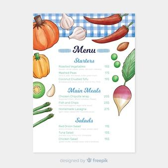 Modello di menu sano dell'acquerello