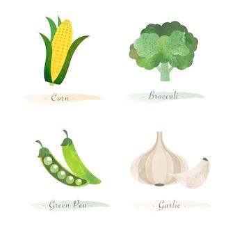 Акварель здоровое органическое растение растительный пищевой ингредиент кукуруза брокколи зеленый горошек чеснок