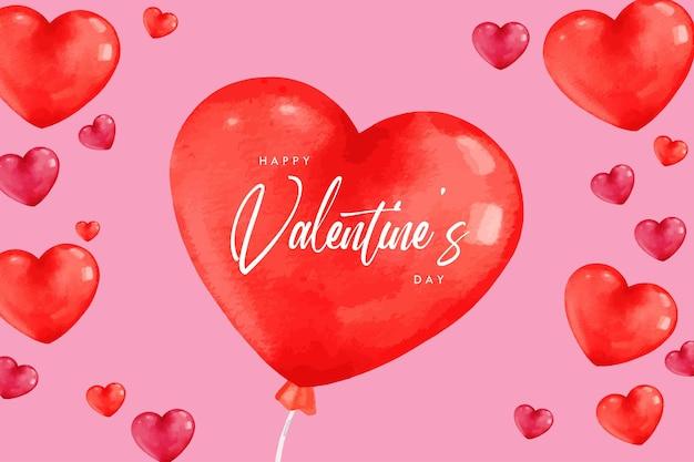 Watercolor heart balloon valentine banner