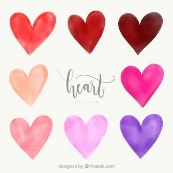 Watercolor heart collection