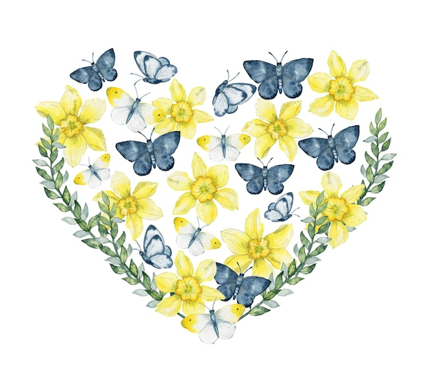 Watercolor heart of daffodils flowers and butterflies floral heart composition