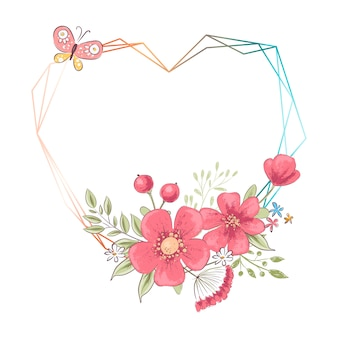 Watercolor heart frame with flowers and copyspace. hand drawing illustration