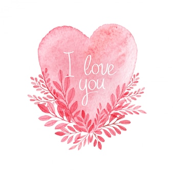 Watercolor heart. vector valentine's day card