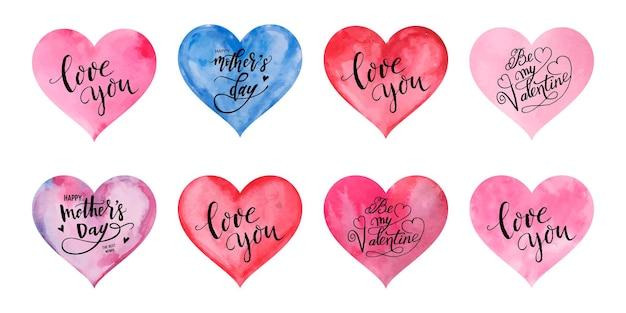 Акварельные сердечки на день святого валентина вектор