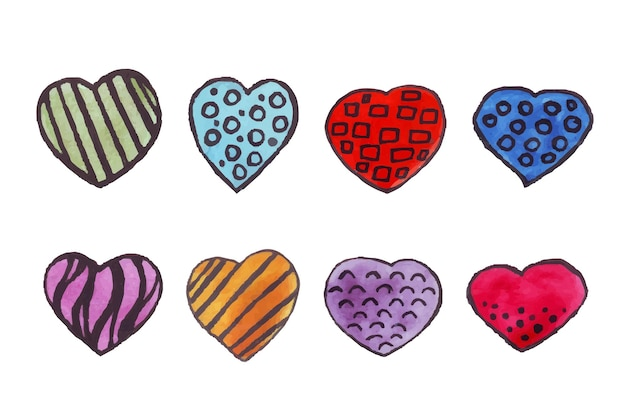 Watercolor hearts hearts with a black outline drawn by hands