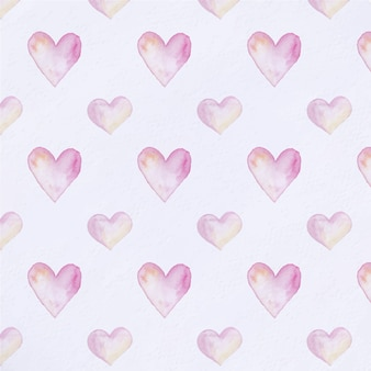 Watercolor hearts pattern background