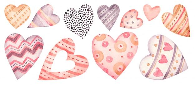 수채화 하트 핑크와 레드 세트 발렌타인 손으로 그린 사랑, 로맨틱, 웨딩 일러스트.