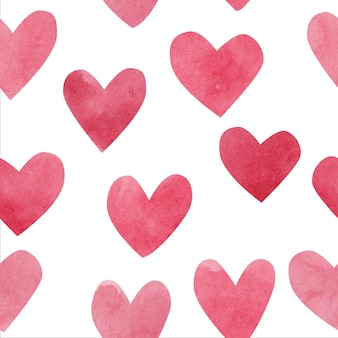 Watercolor hearts. seamless pattern