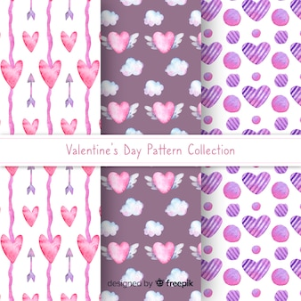 Watercolor hearts valentine pattern collection