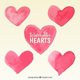 Watercolor hearts Free Vector