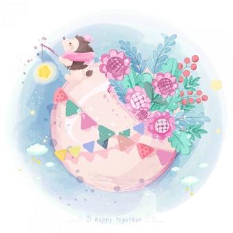 Watercolor hedgehog on the moon with flowers