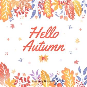 Watercolor hello autumn composition