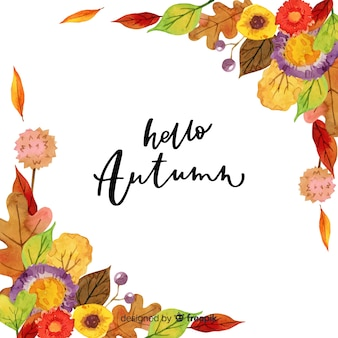 Watercolor hello autumn lettering background