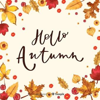 Watercolor hello autumn lettering background