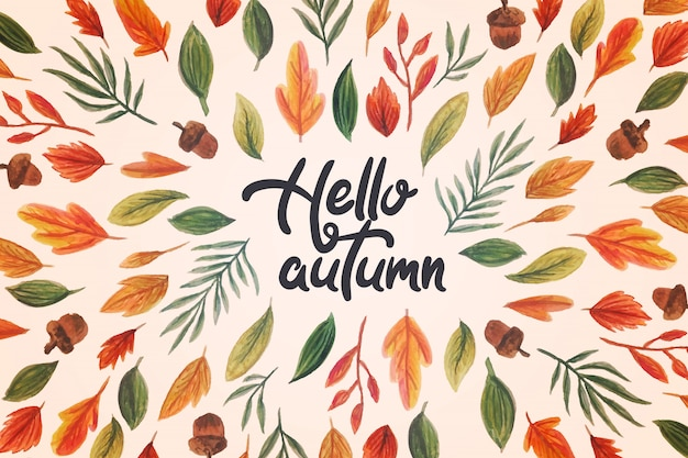 Watercolor hello autumn lettering