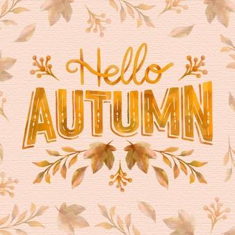 Watercolor hello autumn lettering