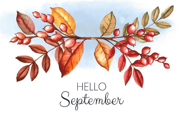 Watercolor hello september background