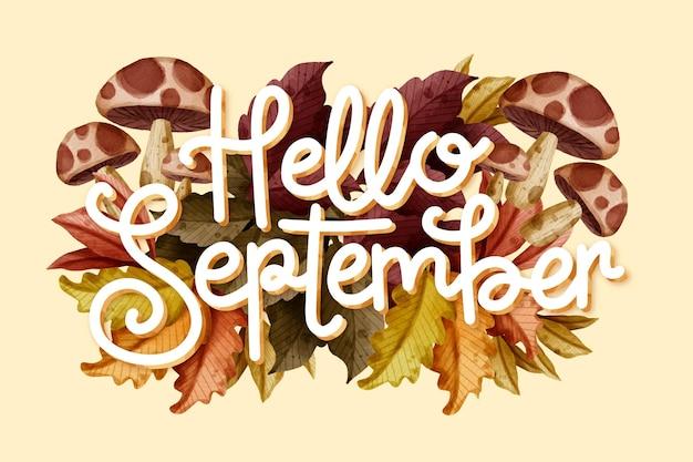 Watercolor hello september lettering