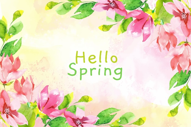 Watercolor hello spring wallpaper