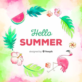 Watercolor hello summer background