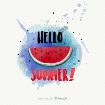 Watercolor hello summer background