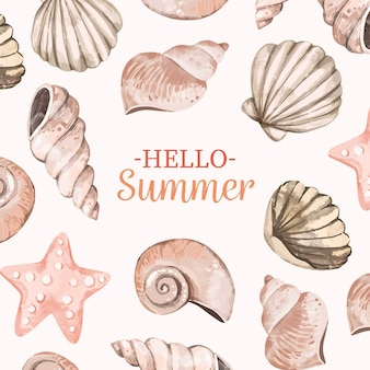 Watercolor hello summer concept