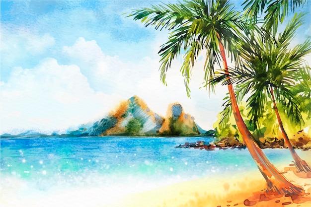 Watercolor hello summer concept