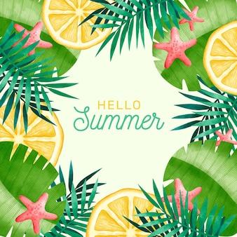 水彩こんにちは夏のコンセプト
