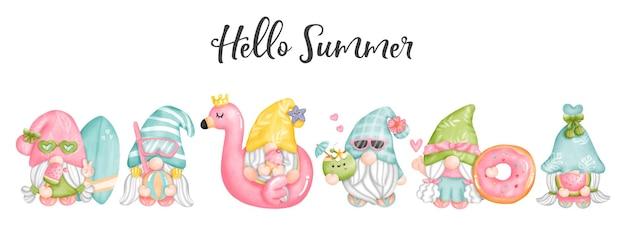 Watercolor hello summer gnomes.