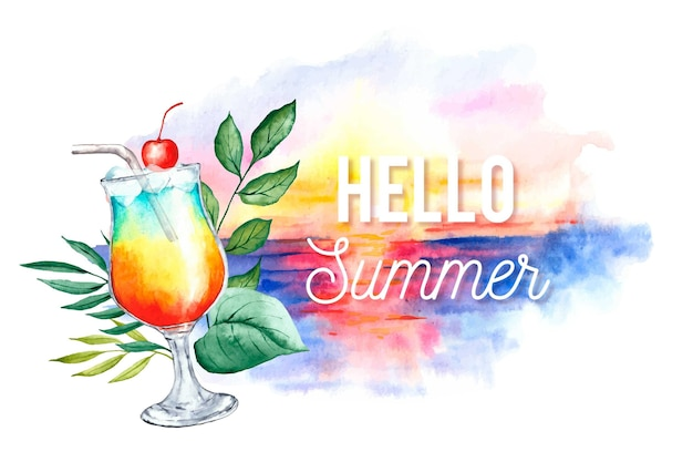 Watercolor hello summer with beach and cocktail