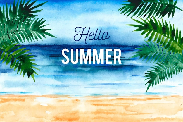 Watercolor hello summer with beach and palm trees