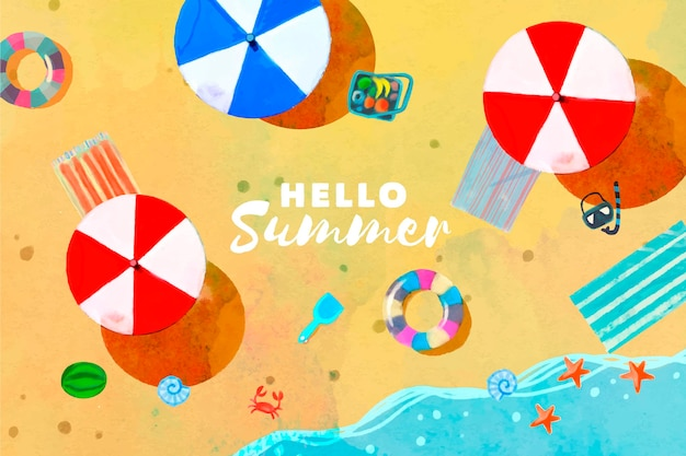 Watercolor hello summer with beach and umbrellas