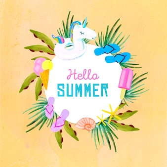 Watercolor hello summer with flip flops and ice cream