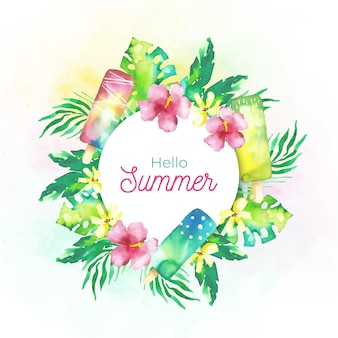 Watercolor hello summer with flowers and ice cream