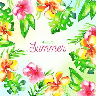 Watercolor hello summer with flowers