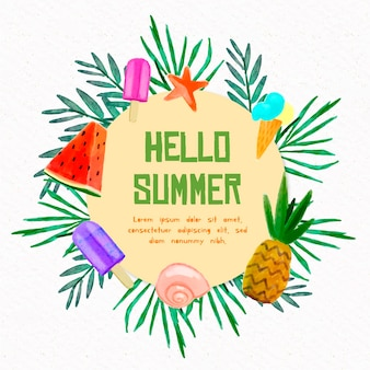 Watercolor hello summer with fruit and ice cream