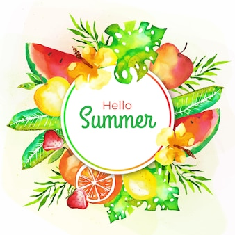 Watercolor hello summer with fruit