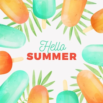 Watercolor hello summer with leaves and popsicles