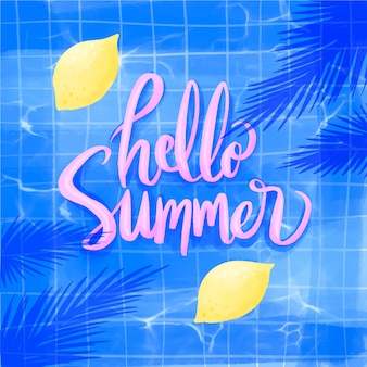 Watercolor hello summer with lemons