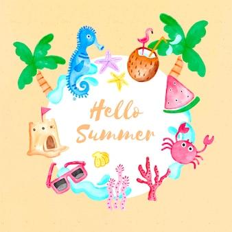 ヤシの木とスイカと水彩こんにちは夏
