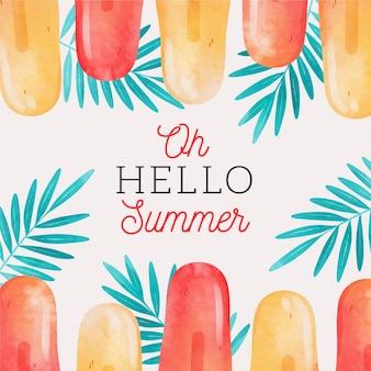 Акварель привет лето с фруктовым мороженым и листьями