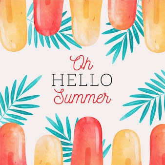 Watercolor hello summer with popsicles and leaves