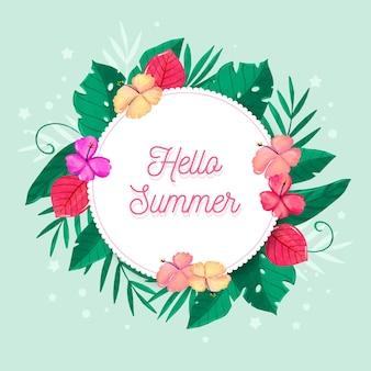 Ciao estate dell'acquerello con fiori tropicali