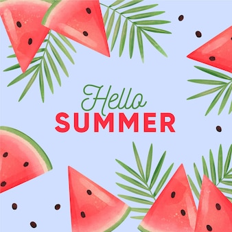 Watercolor hello summer with watermelon and leaves